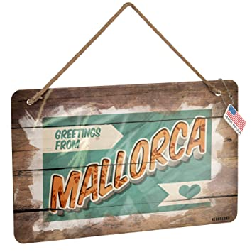 Amazon.com: NEONBLOND Metal Sign Greetings from Mallorca ...