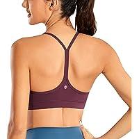CRZ YOGA Women's Low Impact Strappy Padded Sports Bra for Women Y Racer Back Spaghetti Straps Yoga Bra Tops