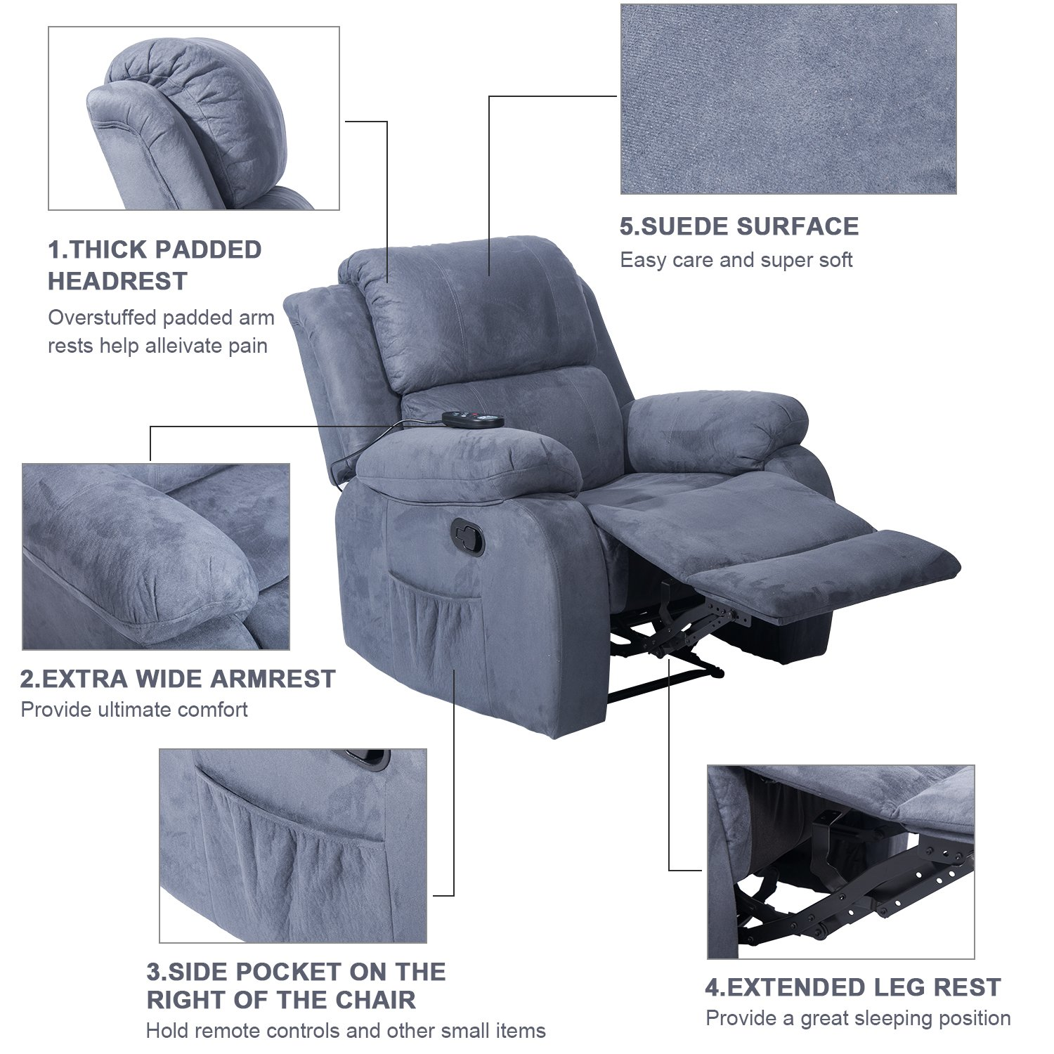 Merax Suede Heated Massage Recliner Sofa Chair Ergonomic Lounge with 8 Vibration Motors, Grey by Merax (Image #2)