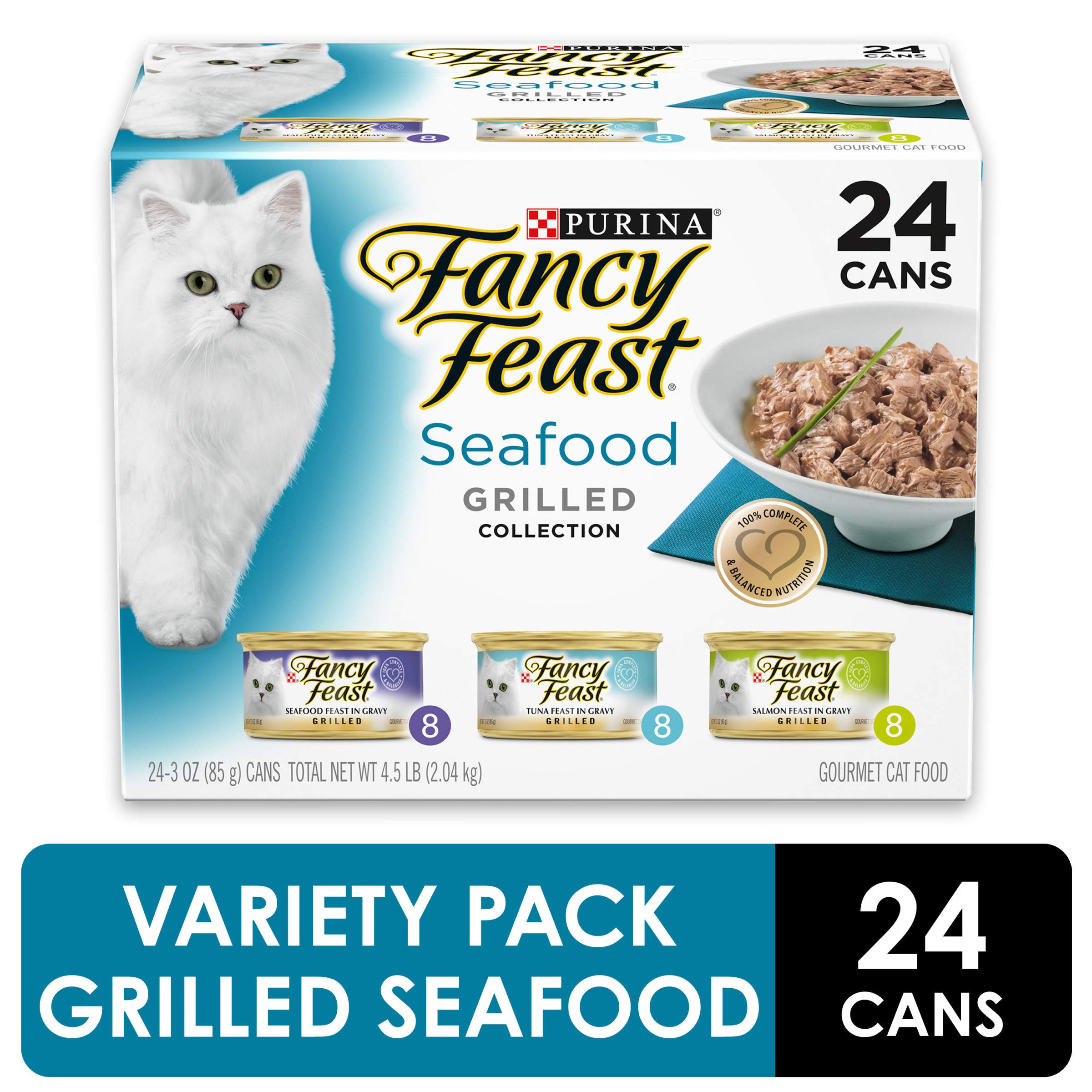 Purina Fancy Feast Gravy Wet Cat Food Variety Pack, Seafood Grilled Collection - (24) 3 oz. Cans by Purina Fancy Feast