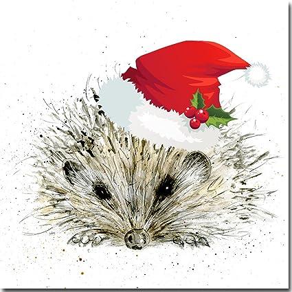 Erizo de Navidad Tarjeta de Navidad - para - de la acuarela ...