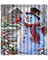 CHARMHOME Merry Christmas Polyester Fabric Bathroom Shower Curtain Set with Hooks, Gifts Tree Star Socks Decoration On Rustic Wood, 36x72 Inch