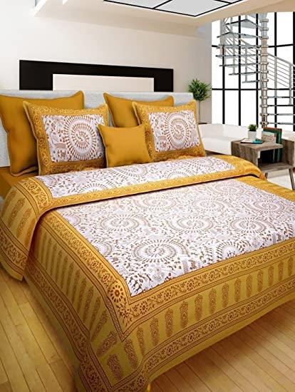 Rhf 100% Cotton Traditional Warli Art Designs Double Bed Sheet / Bed Cover  For Royal