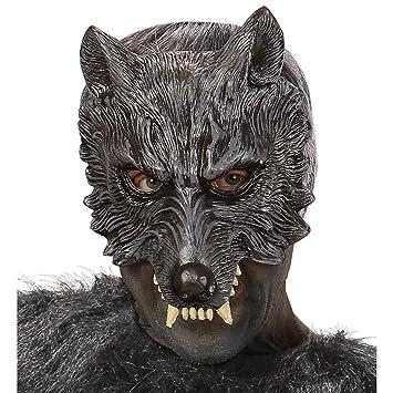 WIDMANN 00456-Máscara de Lobo Mannaro de Látex 2 Unidades, Talla Única de Adulto