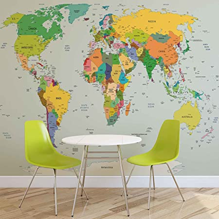 World map photo wallpaper wall mural easyinstall paper giant world map photo wallpaper wall mural easyinstall paper giant wall poster gumiabroncs Image collections