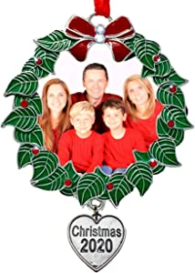 BANBERRY DESIGNS Family Picture Christmas Ornament for 2020 - Holiday Wreath Photo Holder with Dated Heart Charm - 1st Annual Ornaments This Year Keepsake - 3 Inch