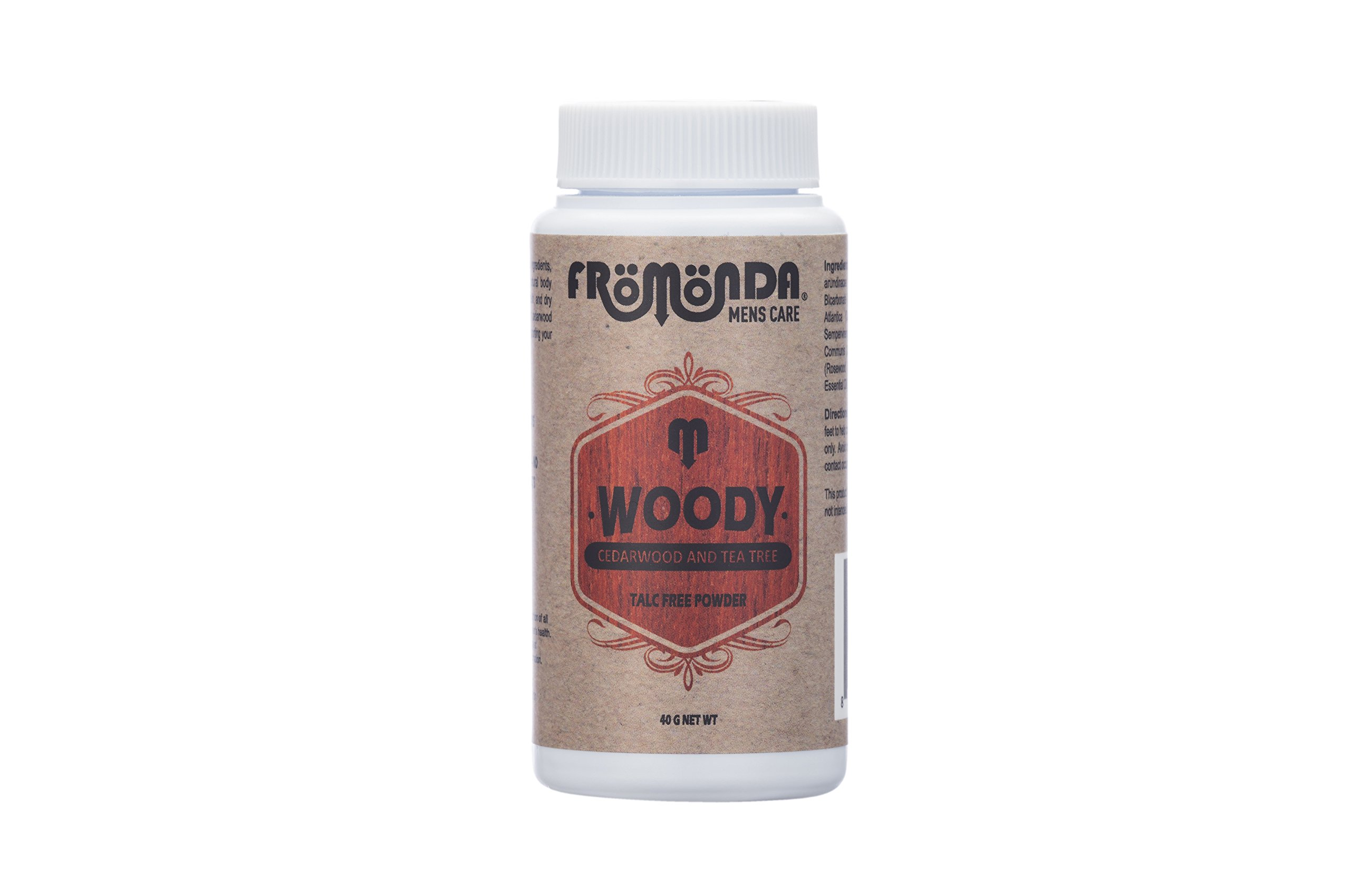 Fromonda Woody Talc Free Body Powder - Natural Dry Deodorant Made With Essential Oils For Men & Women – Athletic Dusting Powder – Vegan - 1.4 OZ