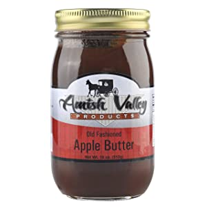 Amish Valley Products Apple Butter Glass Jar Old Fashioned Homestyle Slow Cooked (No Corn Syrup) (Regular)