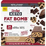 SlimFast Keto Meal Replacement Bar Pantry Friendly Chocolate Chip Cookie Dough, 5 Count