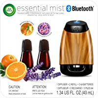 Air Wick Essential Mist Bluetooth, Essential Oil Diffuser (Diffuser + 2 Refills), Lavender & Almond Blossom and Mandarin & Sweet Orange scents