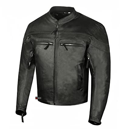 1167fd138 Men's Throttle Classic Leather Motorcycle Street Cruiser Armor Biker Jacket  M