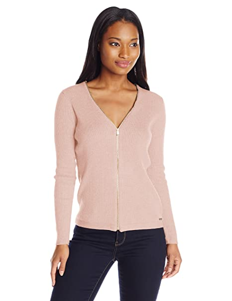 Calvin Klein Women\u0027s Ribbed Zipper,Front Cardigan Sweater