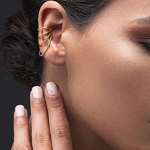 No piercing ear cuff gift non pierced ear cuff no piercing earcuff rose gold ear cuff, suspender earring, sterling silver ear cuff earring by Emmanuela