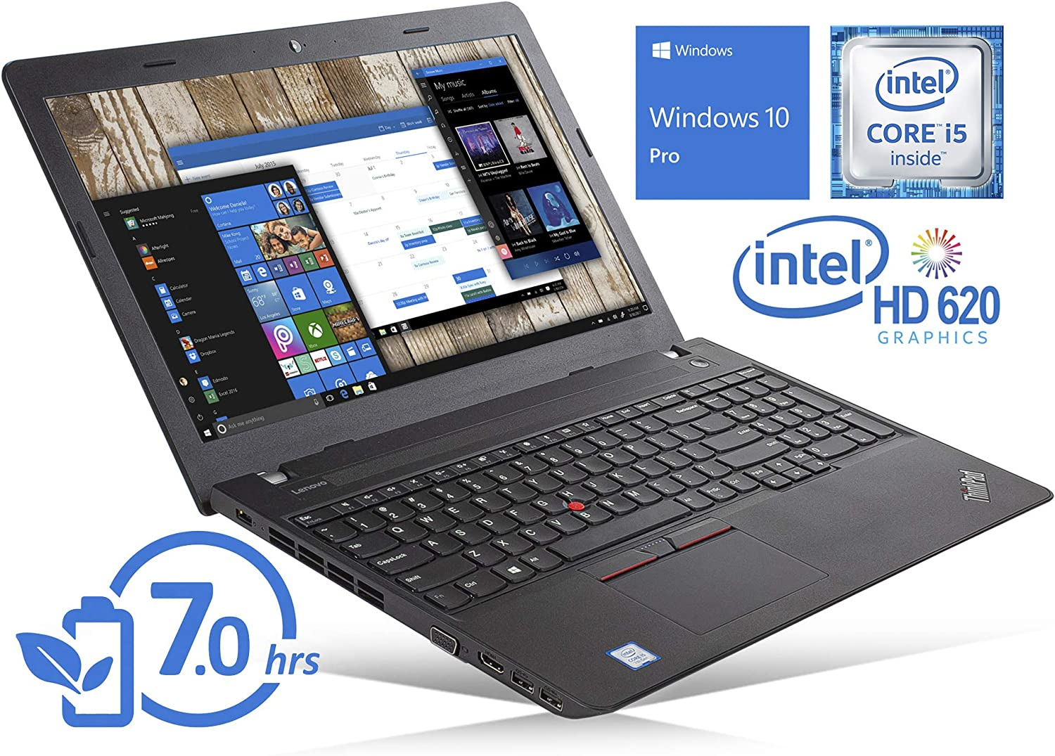 "Lenovo ThinkPad E570 Laptop, 15.6"" HD Display, Intel Core i5-7200U Upto 3.1GHz, 8GB RAM, 512GB SSD, DVDRW, VGA, HDMI, Card Reader, Wi-Fi, Bluetooth, Windows 10 Pro (Renewed)"