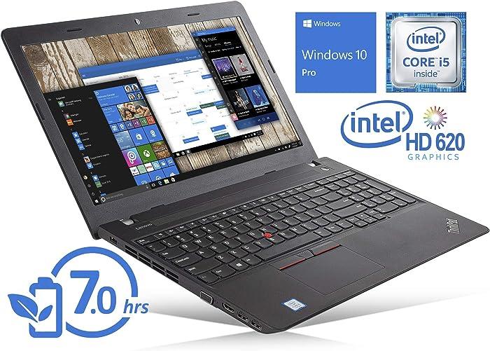 "Lenovo ThinkPad E570 Laptop, 15.6"" HD Display, Intel Core i5-7200U Upto 3.1GHz, 8GB RAM, 512GB SSD, DVDRW, VGA, HDMI, Card Reader, Wi-Fi, Bluetooth, Windows 10 Pro (Renewed)"