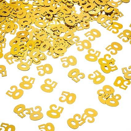 Amazon.com: willbond Oro 50º cumpleaños Confeti, 50 Número ...