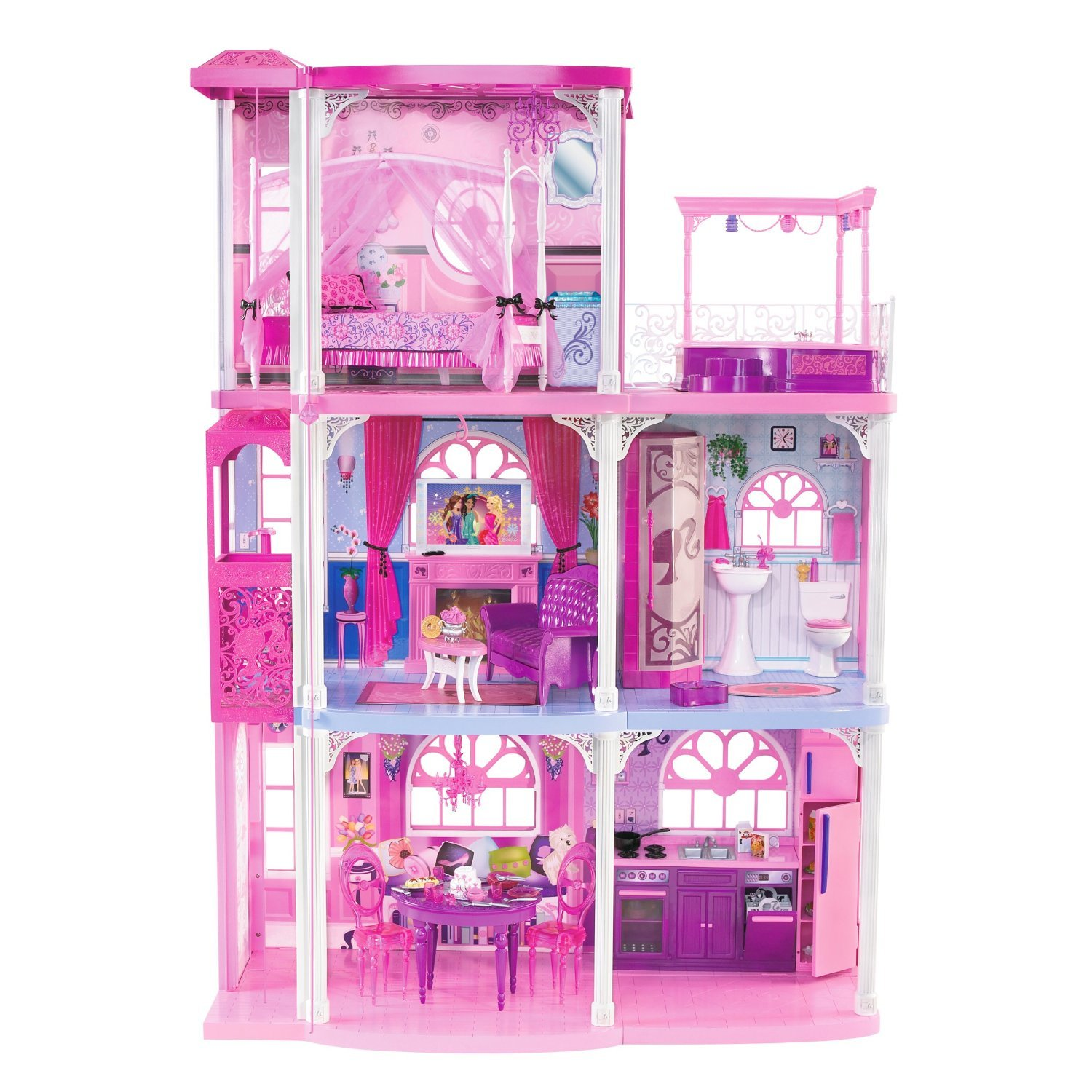 81eqdmUlX9L._SL1500_ amazon com barbie pink 3 story dream townhouse toys & games Barbie Dreamhouse at bayanpartner.co