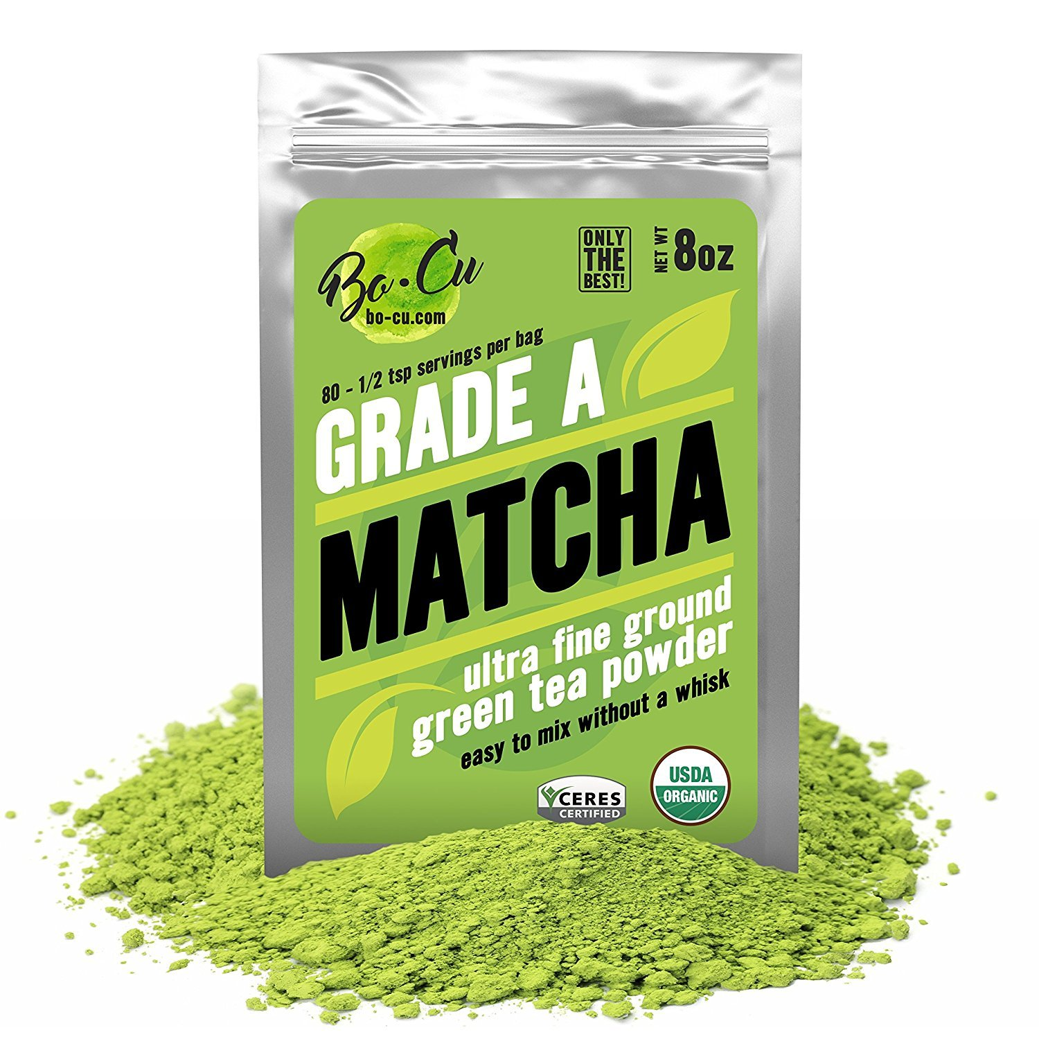 80 Servings, Best Organic Matcha Green Tea Powder for Drinking, Baking & Smoothies, EASIEST TO MIX No Matcha Whisk Needed Natural Instant Tea Concentration Supplement, Calm Energy Booster Grade A 8oz