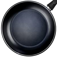 TeChef Color Pan 12-Inch Frying Pan, Coated with DuPont Teflon Select Colour Collection/Non-Stick Coating (PFOA Free)/(Pure Black)
