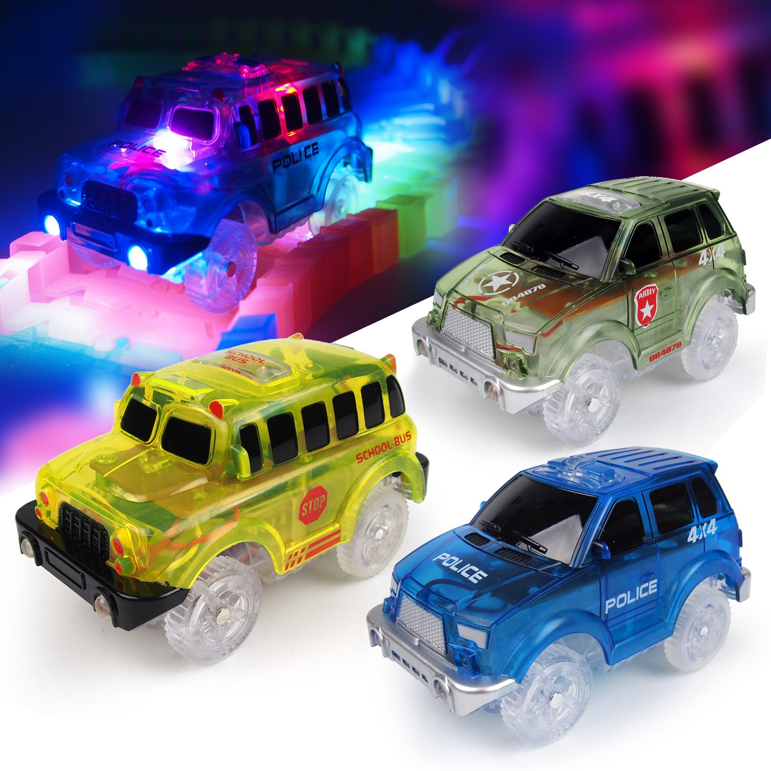 [3-Pack] Light-Up Replacement Track Race Car Toy | 4X4 Racing Cars w/ 5 LED Lights | INDEPENDENT & TRACK PLAY | Track Accessories | Compatible with Most Tracks | Endless Fun for Boys & Girls