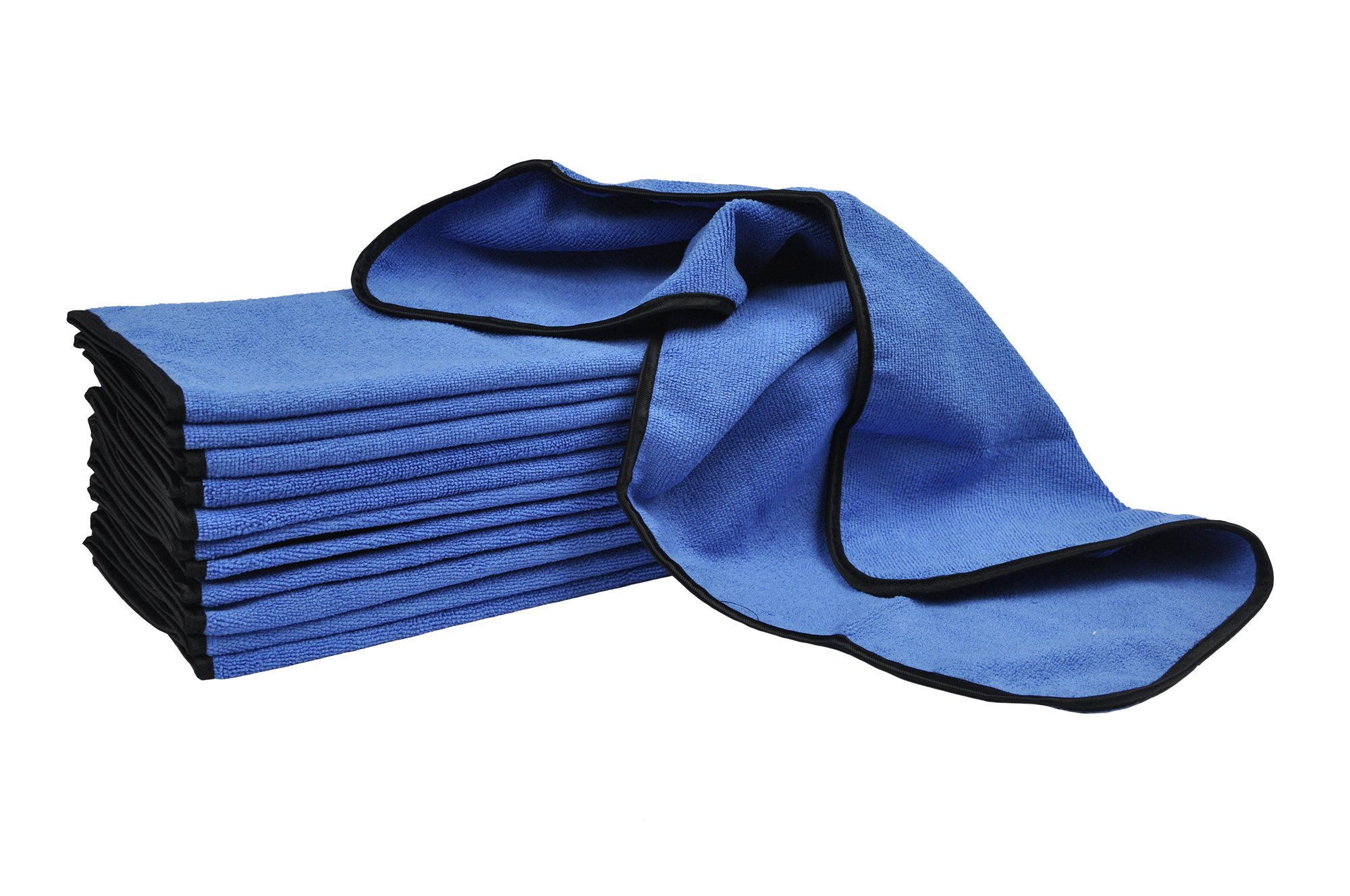 Detailer's Preference Professional Terry Weave Microfiber Towels Rounded Corners Satin Trim 16'' x 24'' 390gsm 12 Pack Blue