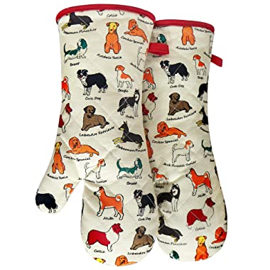 RED LMLDETA Oven Mitts, Cotton Fashion Cute Dog Design, 1pair, Heat Resistant Oven Gloves, Safe Cooking Baking, Grilling, Barbecue, Machine Washable,Pot Holders