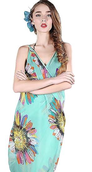59c999b9e1 Spikerking Women's Sunflower Sarongs Beachwear Chiffon Bikini Cover up (One  size, Green)