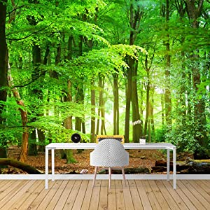 SIGNFORD Wall Mural Forest Removable Wallpaper Wall Sticker for Bedroom Living Room - 66x96 inches