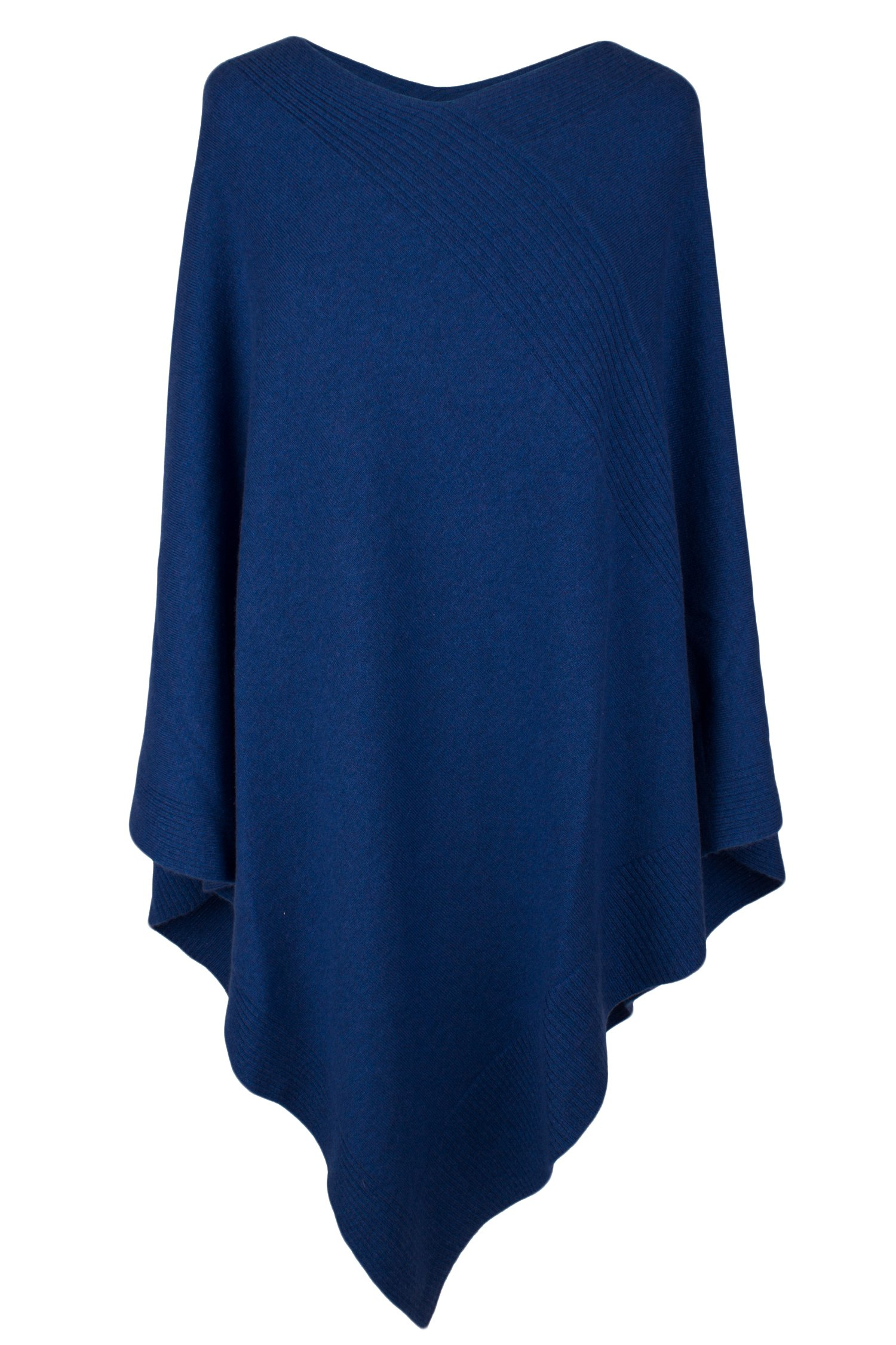 Love Cashmere Women's 100% Cashmere Poncho - Denim Blue - Made In Scotland RRP $600