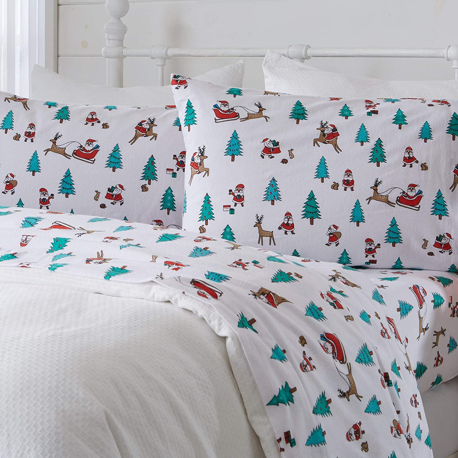 Great Bay Home 3 Piece Extra Soft Holiday Printed 100% Turkish Cotton Flannel Sheet Set. Heavyweight, Warm, Cozy, Luxury Winter Deep Pocket Bed Sheets. Whittaker Collection (Twin XL, Santa)