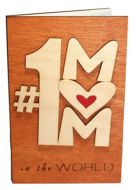 Handmade Real Wood Number 1 One Mom Greeting Card Best Happy Birthday Gift For Your