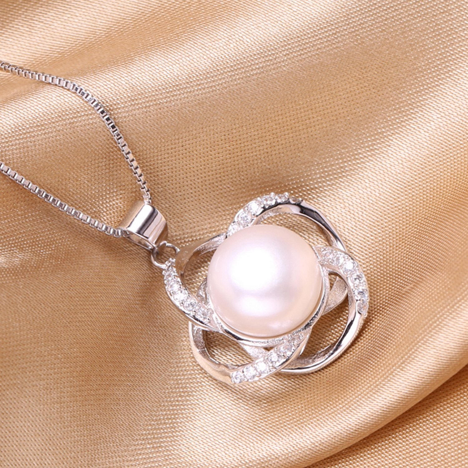CS-DB Jewelry Silver 3D Flower Design Pearl Chain Charm Pendants Necklaces