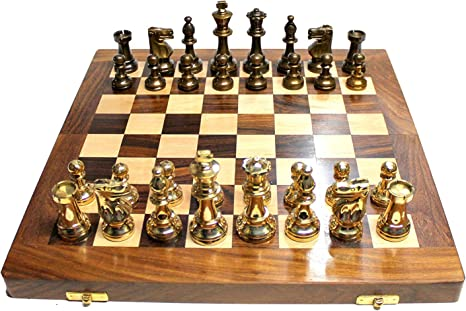 14 X 14? Collectible Wooden Folding Chess Game Board Set+ Brass Staunton Figure Pieces