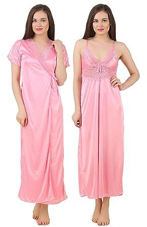b64dc3a724 Fasense Women Satin Nightwear Sleepwear 2 PCs Set of Nighty   Wrap Gown  GT005 (Medium