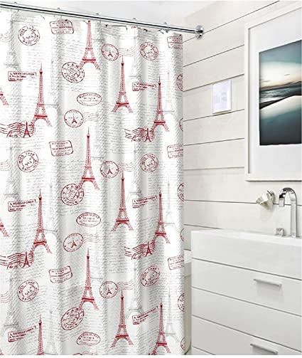 Amazon Paris Post Card Fabric Shower Curtain Modern Red Grey