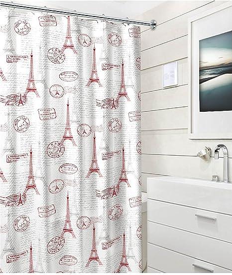 Modern Red Grey White Eiffel Tower Stamp Paris Post Card Fabric Shower Curtain