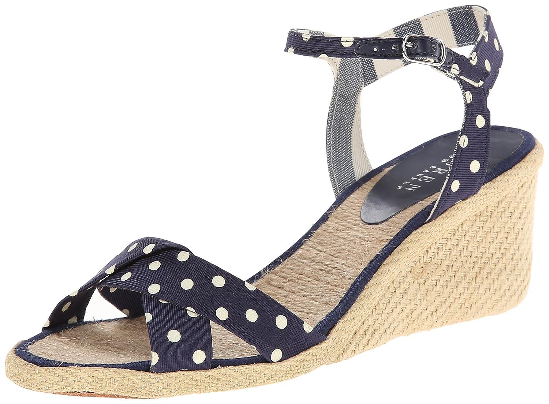Lauren Ralph Lauren Women's Cheryl Espadrille Sandal B00O2KUV6M 8 B(M) US|Modern Navy/Eggshell Polka Dot Faille