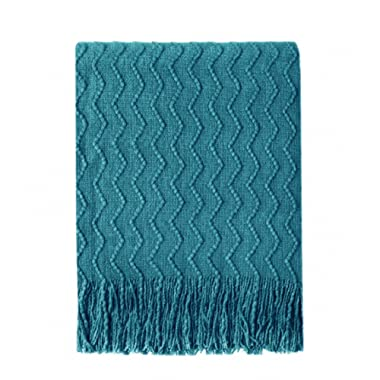Bourina Throw Blanket Textured Solid Soft Sofa Couch Decorative Knitted Blanket, 50  x 60 ,Teal