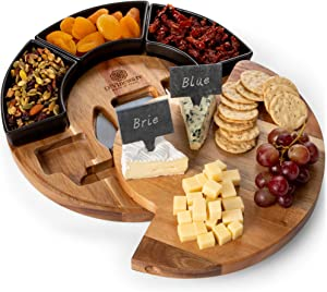 Round Cheese Board and Knives Set, Acacia Wood, Bowl & Wooden Charcuterie Boards for Cutting Meat, Cheeses, and Wine - Appetizer Serving Tray with Ceramic Bowls, Knife Spreaders, Slates, Chalk