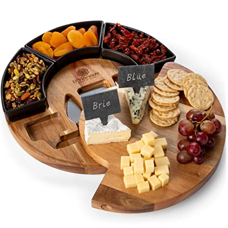 Round Cheese Board And Knives Set Acacia Wood 11 Dia Wooden Charcuterie Boards For Cutting Meat Cheeses And Wine Appetizer Serving Tray With