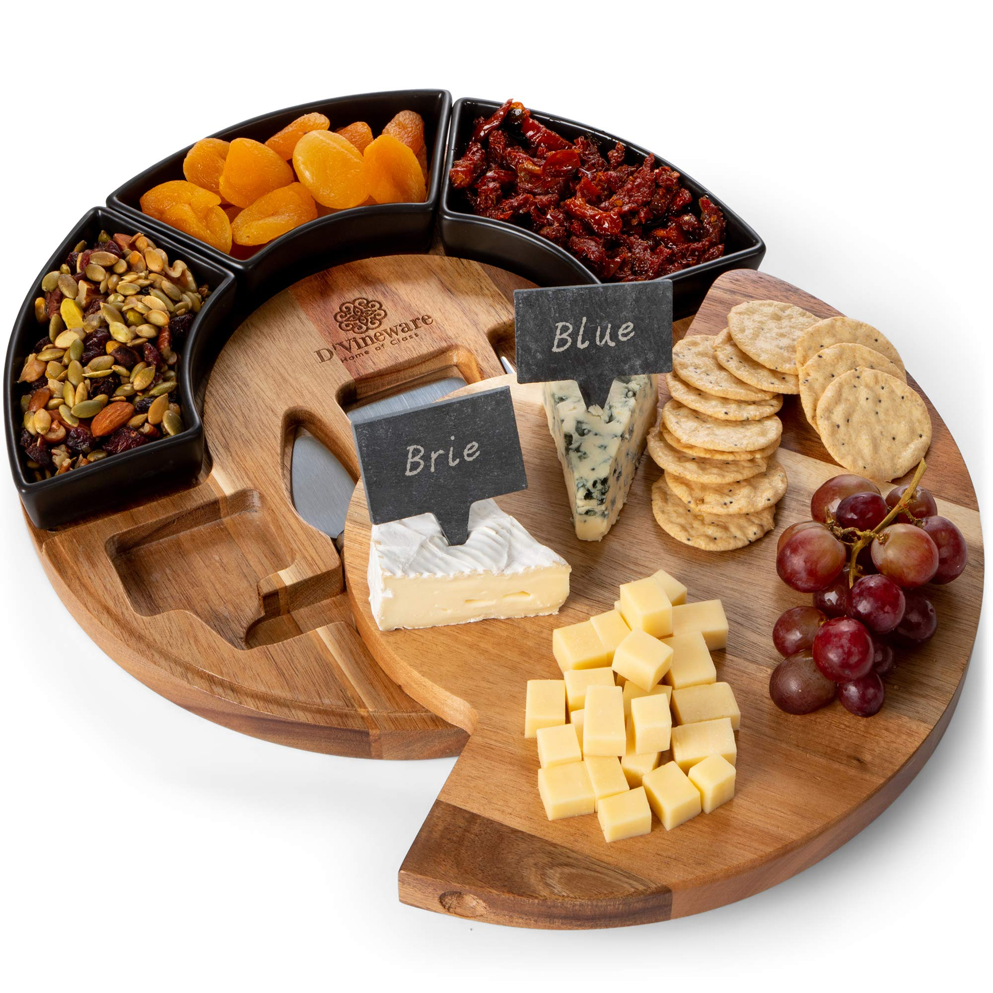 Round Cheese Board and Knives Set, Acacia Wood, Bowl & Wooden Charcuterie Boards for Cutting Meat, Cheeses, and Wine - Appetizer Serving Tray with Ceramic Bowls, Knife Spreaders, Slates, Chalk by DVineware (Image #1)