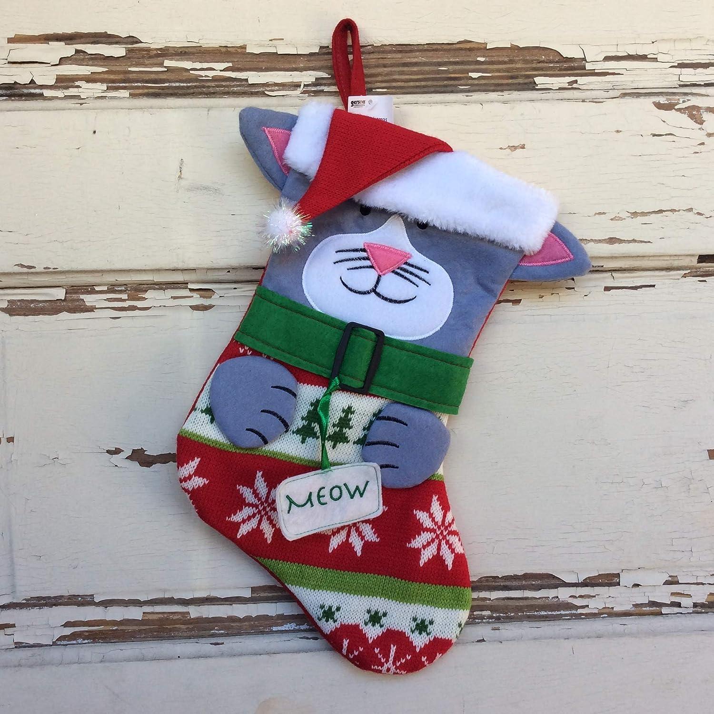 AGD Christmas Decor Dog Cat Santa Stocking and Holder 2pc Set