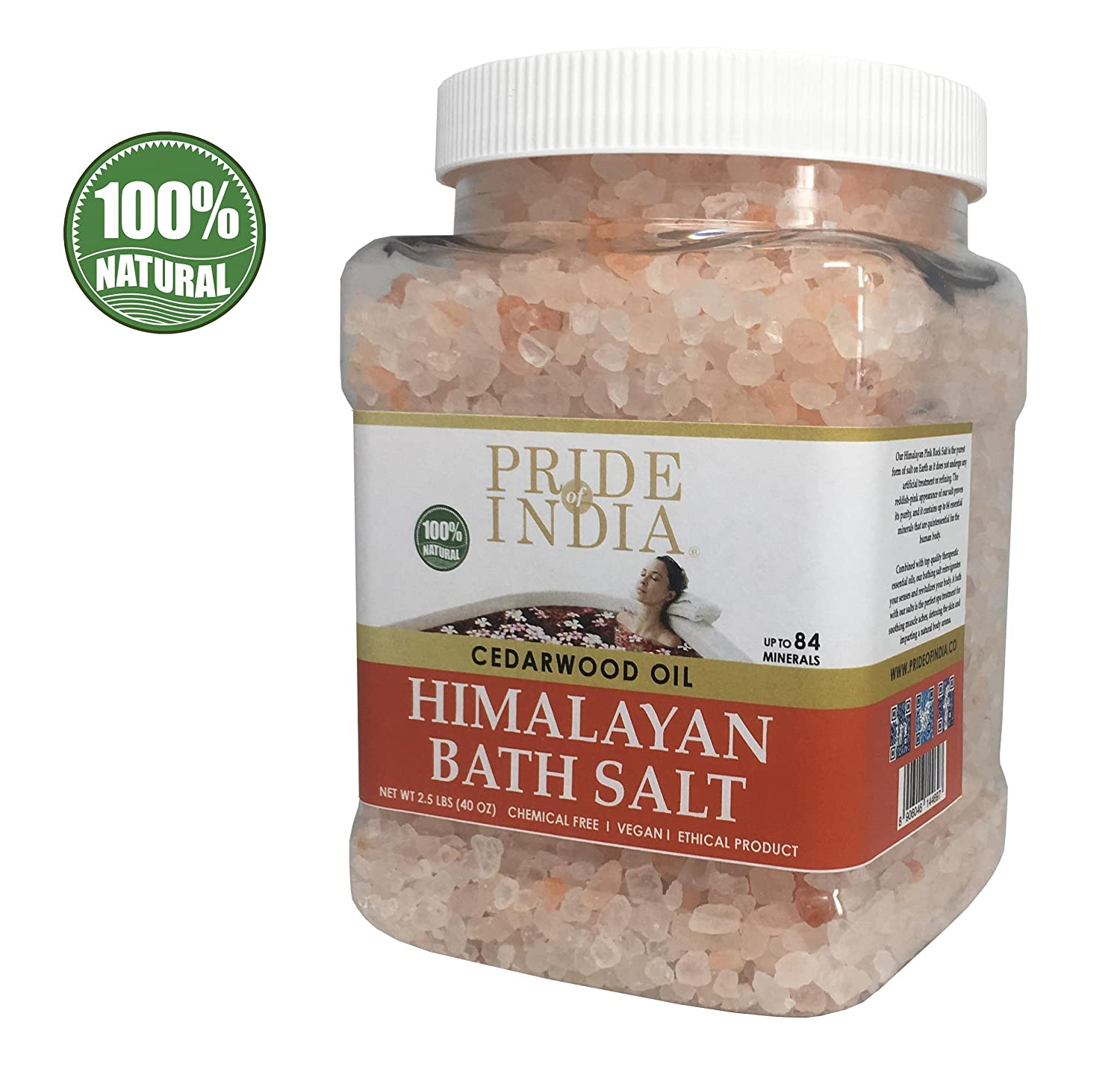 Pride Of India - Himalayan Pink Bathing Salt - Enriched w/Peppermint Oil and 84+ Natural Minerals, 2.5 Pound (40oz) Jar