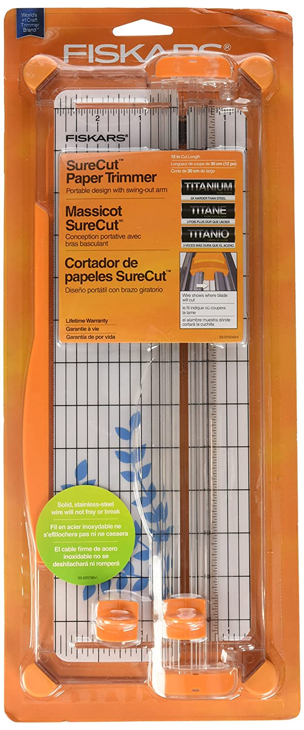 Fiskars SureCut Deluxe Craft Paper Trimmer, 12-Inch Cut Length (1298937797) Cell Distributors