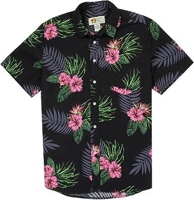 Paradise Key Camisa Hawaiana de algodón Tropical, para Hombre M-XXL Negro, Verde, Rosa - Verde - Medium: Amazon.es: Ropa y accesorios