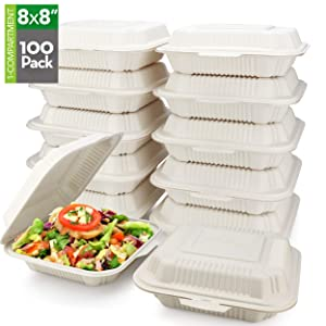 "HeloGreen [100 Count] Eco Friendly to Go Containers (8"" x 8"", 1-Compartment) - Non Soggy, Leak Proof, Disposable to Go Boxes Made from Cornstarch - Microwave Safe, Take Out Food Containers, Leftovers"