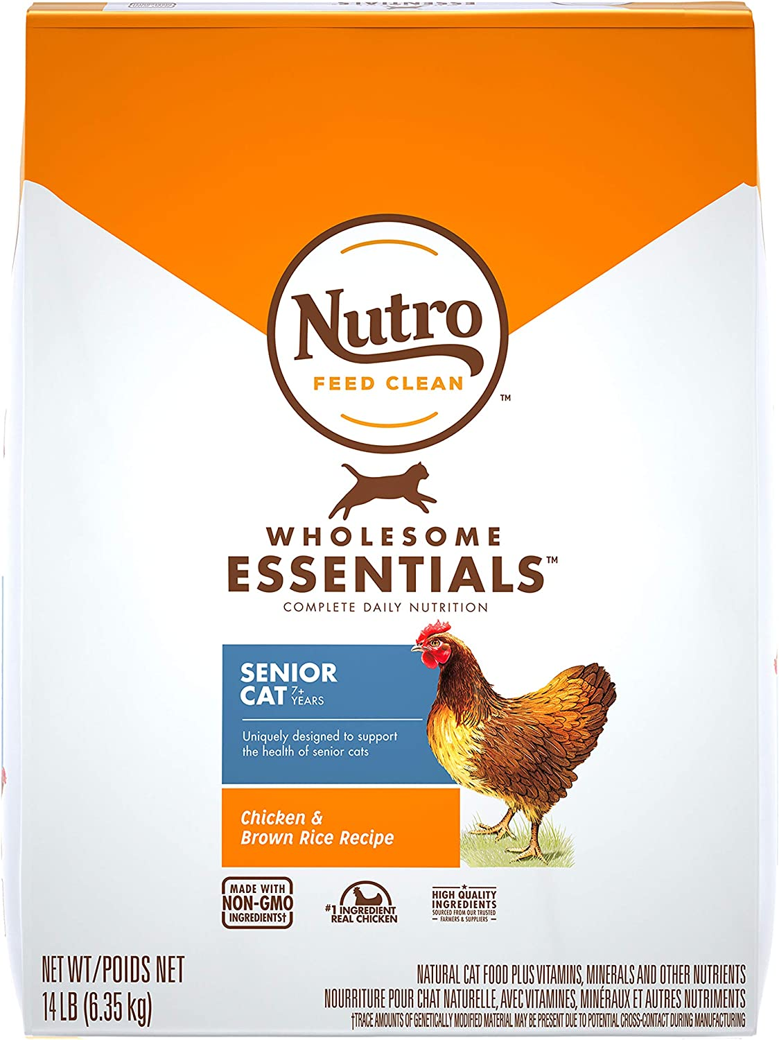 NUTRO WHOLESOME ESSENTIALS Senior Indoor Natural Dry Cat Food for Healthy Weight Farm-Raised Chicken & Brown Rice Recipe, 14 lb. Bag