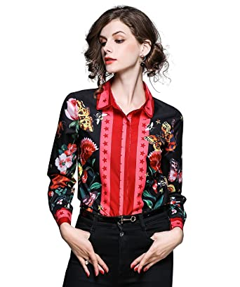 37eba166c83 Amazon.com  Women s Button Down Floral   Butterfly Print Long Sleeve  Regular Fit Blouse Tops  Clothing
