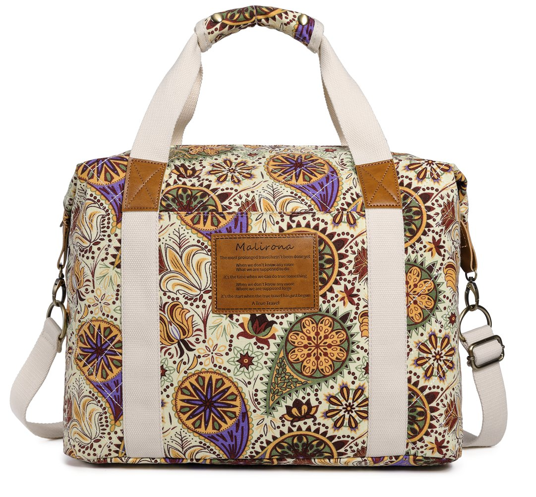 Malirona Ladies Women Canvas Travel Weekender Overnight Carry-on Shoulder Duffel Tote Bag Bohemian Flower KJ031-FB144