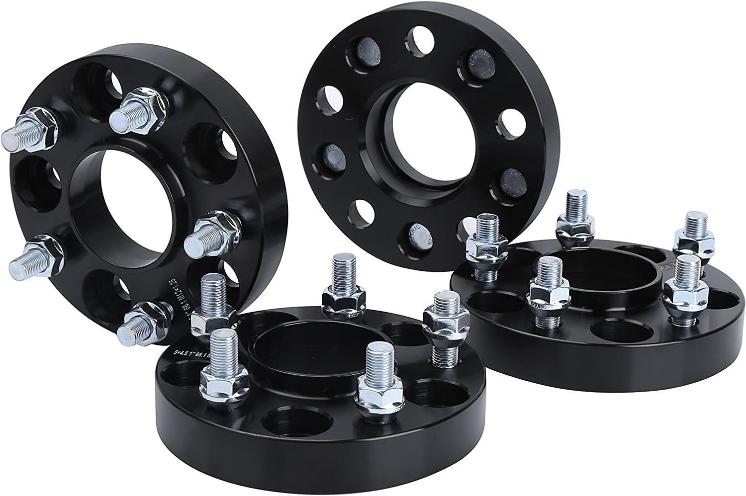 KSP Forged Wheel Spacers1 5x4.5 to 5x4.5 (5x114.3) Thread Pitch M12x1.25 Hub Bore 66.1mm 5 Lug Hub Centric 25mm Wheel Adapters for 350Z 370Z G35 G37 FX35, 4Pcs